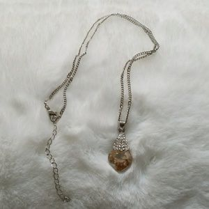 Topaz Crystal with rhinestones and silver chain